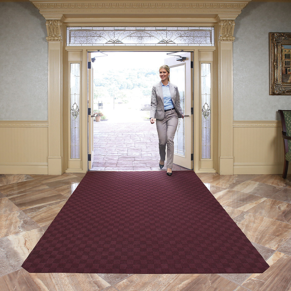 New Pig's Grippy® Carpeted Entrance and Floor Mat is designed to keep entrances and walkways safer and make a great first impression in lobbies, entrances and waiting rooms.  Proprietary adhesive backing sticks to the floor exactly where it's put - no shifting, rippling or flipping over -- yet peels up easily