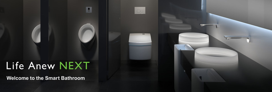 """This year, TOTO expands its overarching """"Life Anew"""" global brand message with """"Life Anew NEXT,"""" a new key message that encompasses smart, fully connected bathrooms and enhanced intelligent toilet experiences. Collaborating with innovative companies from leading industries across the globe, TOTO will develop the next generation of IoT-enabled public restrooms and home bathrooms of the future."""