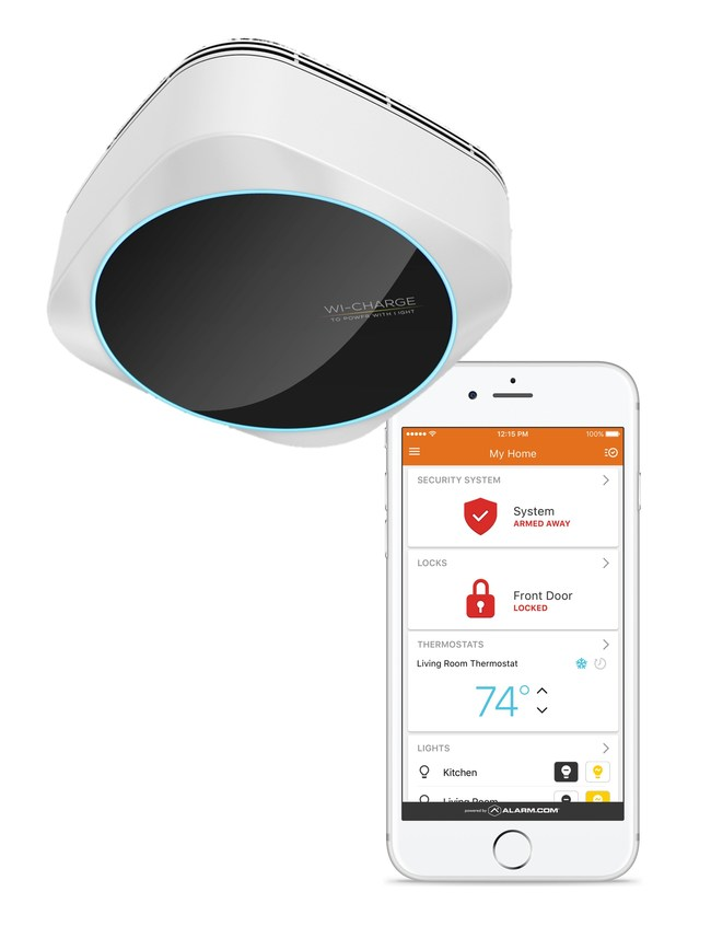 Wi-Charge wireless charging integrates with smart locks and other devices that are supported by the Alarm.com smart home security platform, delivering a next-generation home security experience.