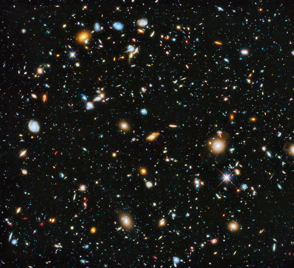 This Hubble Ultra Deep Field image is a composite of numerous exposures taken in visible, infrared, and ultraviolet light with the Hubble Space Telescope. It is among the most colorful deep-space images ever captured by the orbiting observatory. Credit: NASA, ESA, H. Teplitz and M. Rafelski (IPAC/Caltech), A. Koekemoer (STScI), R. Windhorst (Arizona State University), and Z. Levay (STScI)