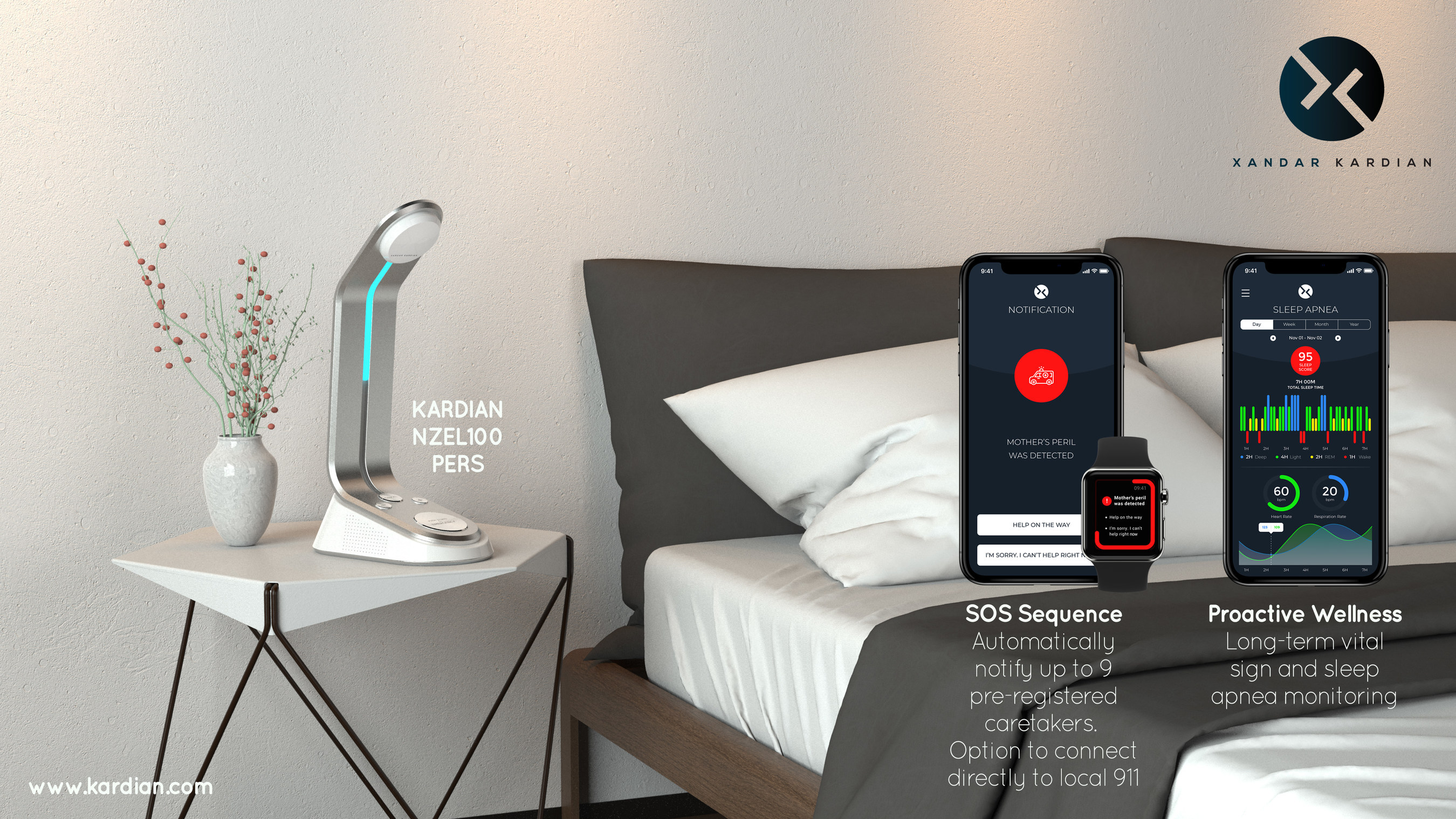 Xandar Kardian NZEL100 PERS home IOT device with IR-UWB RADAR for non-contact vital sign and sleep apnea monitoring. Launching at CES 2019, booth 45449 SANDS EXPO.