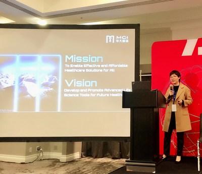 Dra. Jiang Hui, Executiva-Chefe de Operações da MGI, na 37a. Conferência Anual de Saúde da J.P. Morgan