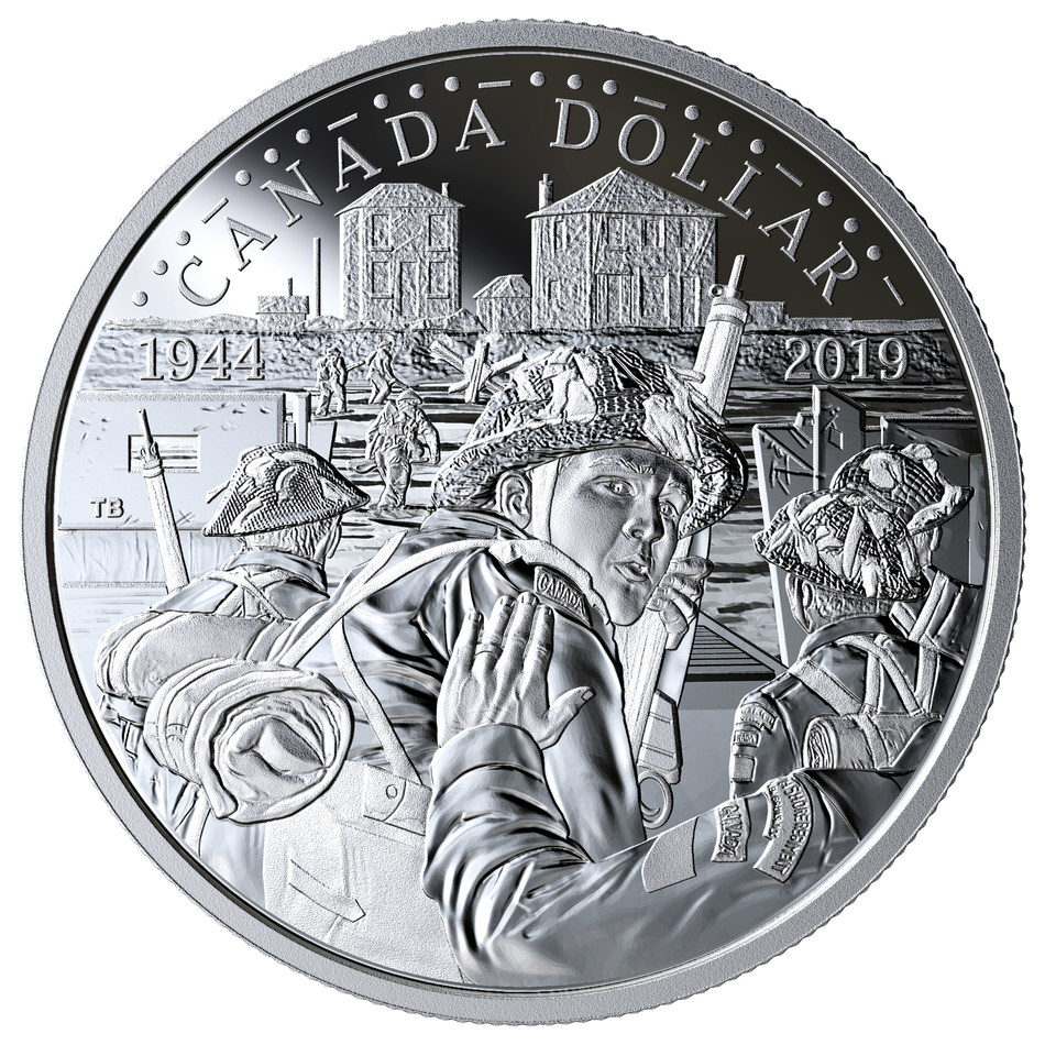 The Royal Canadian Mint's 2019 Proof Silver Dollar - 75th Anniversary of D-Day (CNW Group/Royal Canadian Mint)