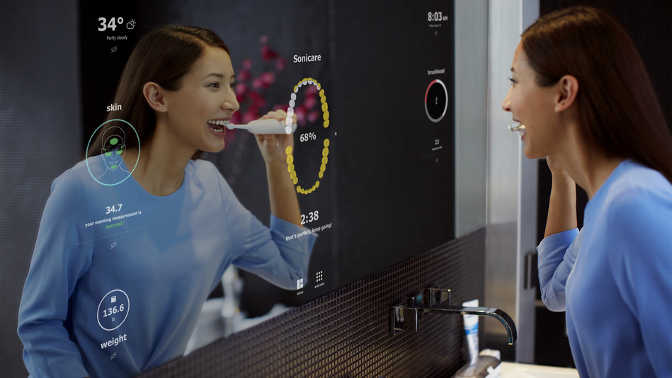 Philips' SmartMirror concept shows how Philips' solutions empower individuals to better understand their daily routines.