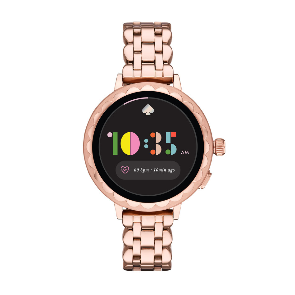 The kate spade scallop smartwatch 2 blends the brand's iconic design details with cutting edge functionality including heart rate tracking, payment technology and GPS capabilities, making it a must have accessory for women of today.