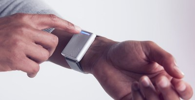 The interface of the Embr Wave thermal wellness wearable is injection molded from Makrolon® 2407 polycarbonate from Covestro LLC. (Photo credit: Embr Labs)