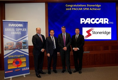 From left to right: Don Schulte, Senior Director of Purchasing, PACCAR; Ron Augustyn, Vice President of Global Purchasing, PACCAR; Jon DeGaynor, President and CEO, Stoneridge; and James Craig, Director of Purchasing, PACCAR