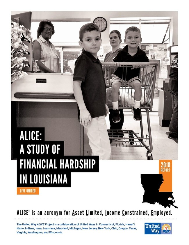The ALICE Report is the most comprehensive depiction of financial need in the state to date, using data from a variety of sources, including the U.S. Census. The report includes measures, based on present-day income levels and expenses that show how many Louisiana workers are struggling financially, and why. Nearly one in three (29 percent) of Louisiana households are ALICE and 19 percent live in poverty.