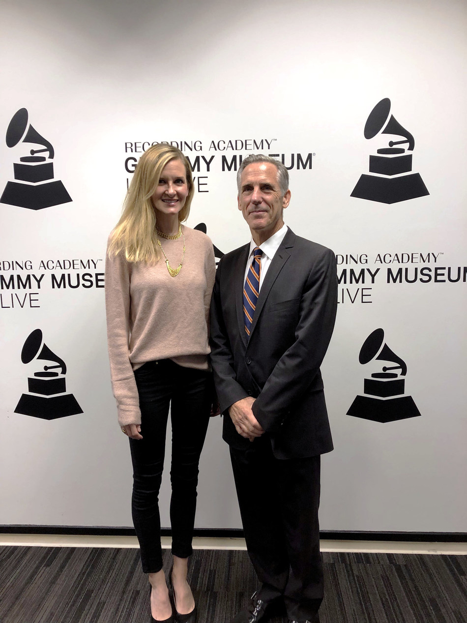 Kaitlyn Nader, director of community engagement for the GRAMMY Museum, with Mark S. Roosa, dean of libraries for Pepperdine University.