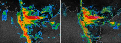 An August 2018 monsoon in India, shown at left by the best current weather model that operates at 13-kilometer resolution. At right, the new IBM Global High-Resolution Atmospheric Forecasting System (GRAF) operates at 3-km resolution and updates 6 to 12 times more often. Credit: IBM