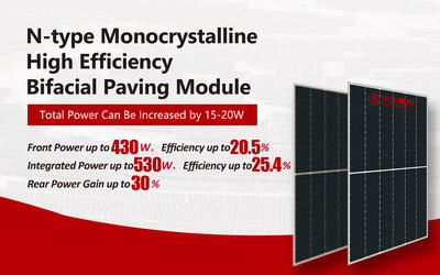 N-type Monocrystalline High Efficiency Bifacial Paving Module can increase the power by 15-20w