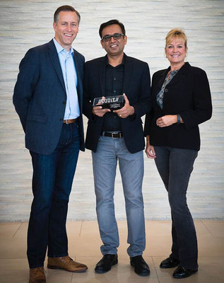 Receiving the CODiE Award are (L to R) Scott Pulsipher, President of WGU, Manish Gupta, CEO of uCertify, and Elke Leeds, Academic Vice President of WGU's College of IT.