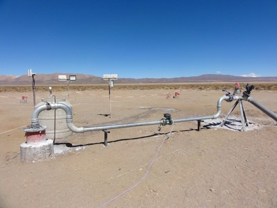Figure 2: CAU07 wellhead configuration with flow meter showing the rate for the 30 day pumping test (CNW Group/Advantage Lithium Corp)