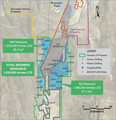 Figure 5: Location of drill holes mentioned in this release, showing the existing inferred resource area (blue) and the location of the cross section in Figure 4 (black dotted line) (CNW Group/Advantage Lithium Corp)