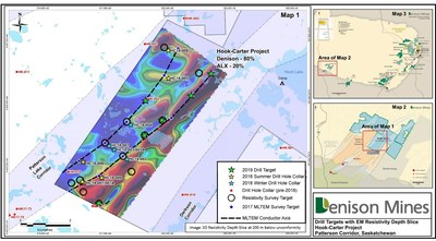 Figure 4: Location of the Hook-Carter 2019 drill targets. (CNW Group/Denison Mines Corp.)