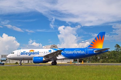 Allegiant's aircraft featuring the new Make-A-Wish livery is based in Orlando Sanford International Airport.