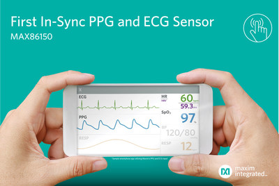 Maxim Integrated's MAX86150 provides accurate, synchronized PPG and ECG monitoring for mobile devices.