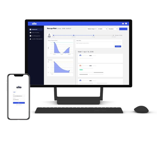 Olio Communication Platform. Olio mobile app and desktop view of the patient story.