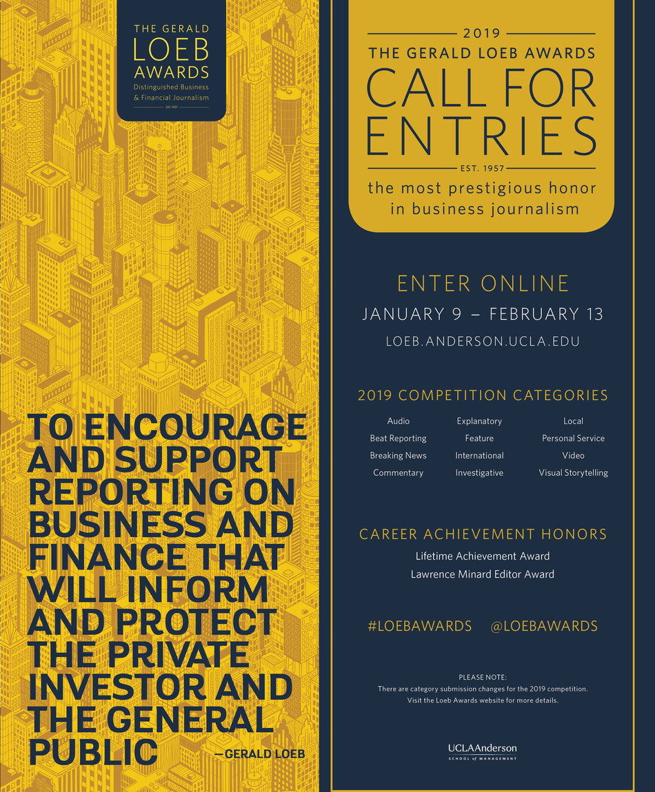 Gerald Loeb Awards Open Call For Entries For 2019 Journalism