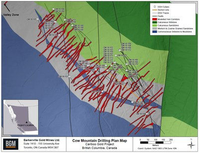 Cow Mountain Drilling Plan Map (CNW Group/Barkerville Gold Mines Ltd.)
