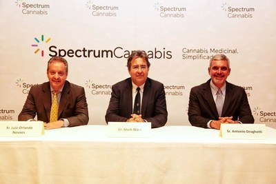 Pictured are: Luiz Orlando Novaes - Country Managing Director, Spectrum Cannabis Peru; Dr. Mark Ware - Chief Medical Officer, Canopy Growth; Antonio Droghetti - Managing Director, Canopy LATAM