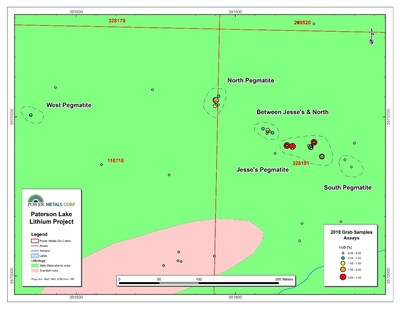 Figure 2 Map of surface samples colour coded by lithium grade at Jesse's pegmatite, Paterson Lake Property. (CNW Group/POWER METALS CORP)