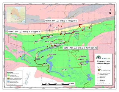 Figure 1 Geology map of Marko's, Jesse's and other petalite pegmatite occurrences in Separation Rapids Greenstone Belt, northwestern Ontario. (CNW Group/POWER METALS CORP)