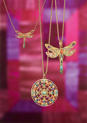 Full of lightness, the jewellery pieces of the new Spring/Summer 2019 collection from THOMAS SABO combine paradisiacal colours with a graphic-modern visual language and a Boho-inspired look. In detail, up to 130 hand-set stones lend unique variety to the ornate dragonfly pendants and amulets. Picture exclusively for editorial use.