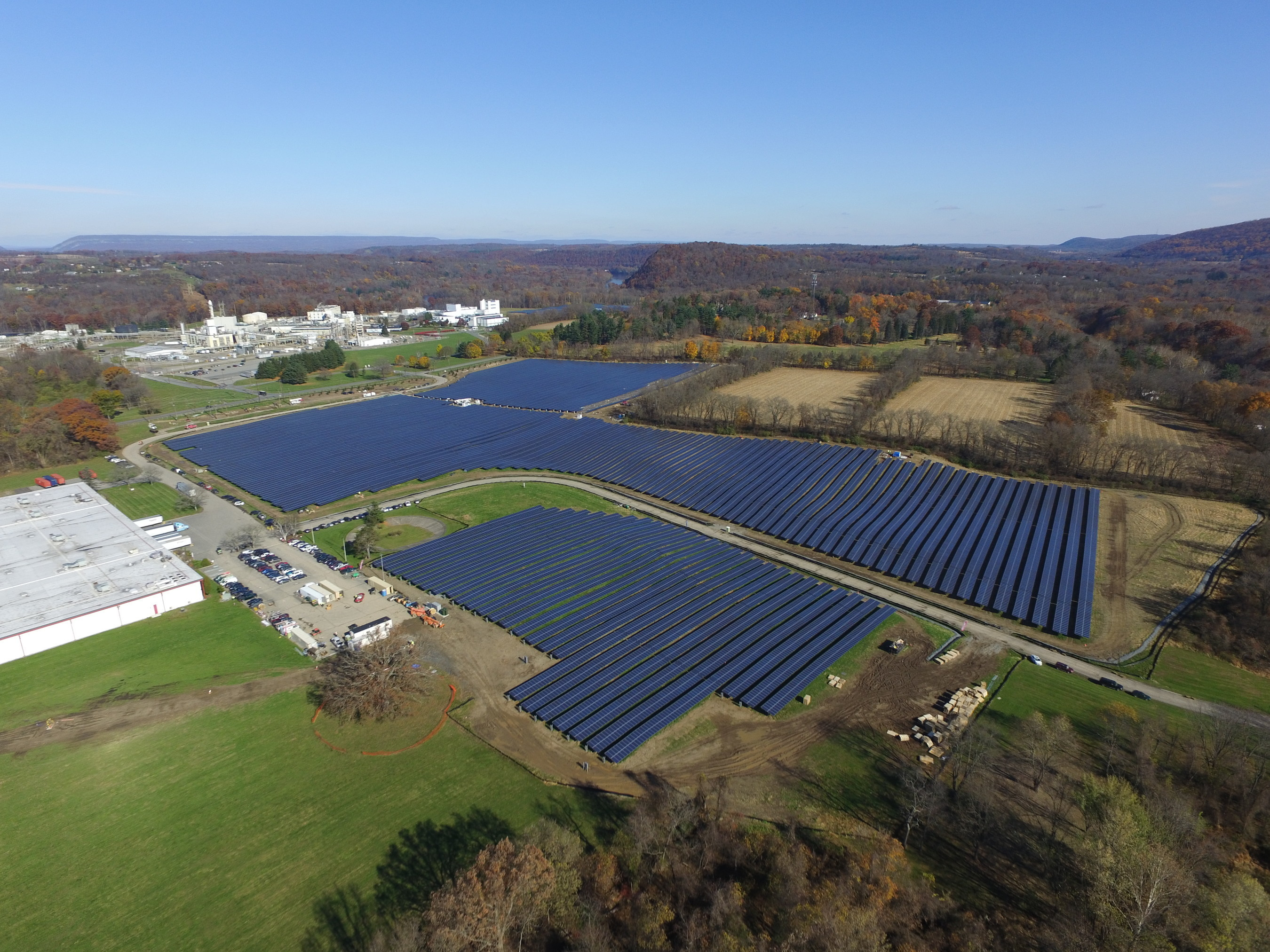 DSM North America's newly expanded 66 acre solar field in Belvidere, New Jersey
