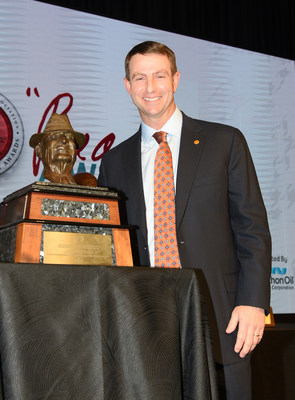 "Coach Dabo Swinney wins the 2018 Paul ""Bear"" Bryant Coach of the Year Award. Photo Credit: www.alexandersportraits.com"