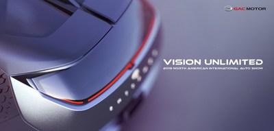 Le visuel clé de GAC Motor lors du NAIAS 2019 (PRNewsfoto/GAC Motor)