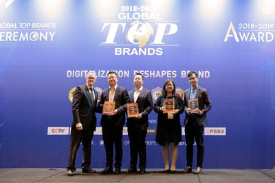 Jonny Wang, the General Manager of SKYWORTH TV Overseas Sales and Marketing Headquarters (second from left) and Jack Lee, Director of SKYWORTH TV Overseas Brand Management Department (third from left) received the awards on stage