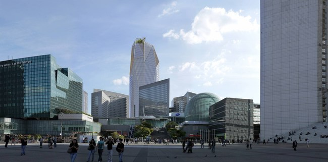 """The Paris district """"La Defense"""" will become home to a spectacular new skyscraper, featuring thyssenkrupp's unique TWIN elevators with two cabins instead of just one moving in the same shaft. thyssenkrupp Elevator will deliver twelve TWIN elevator systems, a technology that increases transport capacity and improves energy efficiency."""