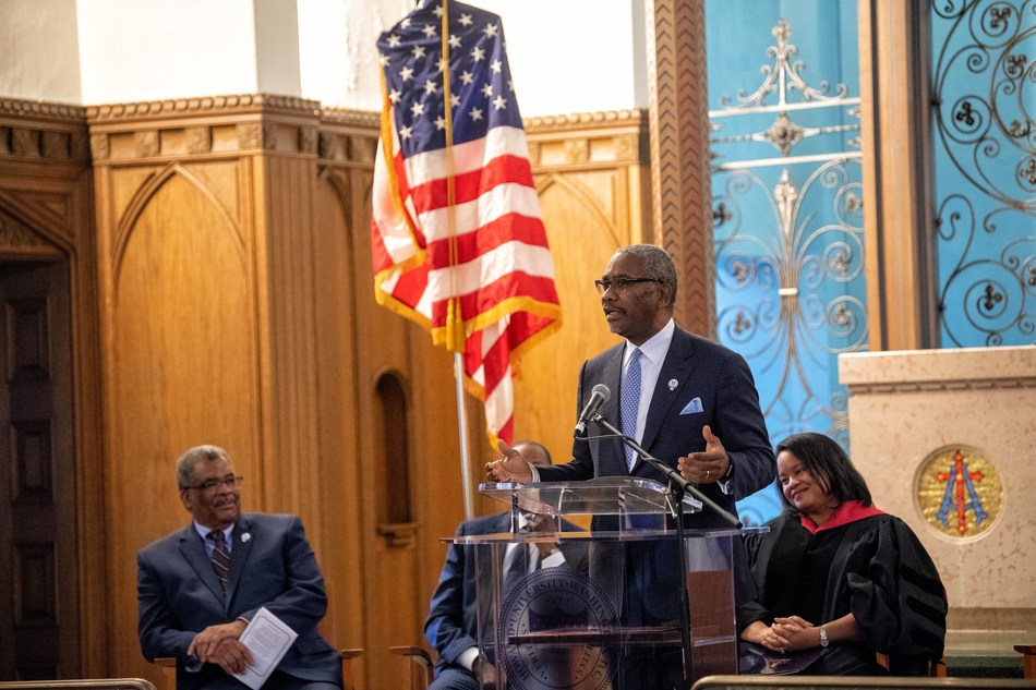 Congressman Gregory W. Meeks served as keynote speaker for the Howard University School of Law Sesquicentennial Convocation, held January 7, 2019. Photo courtesy of Howard University.