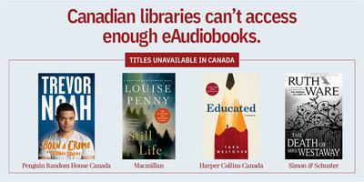 eAudiobooks currently unavailable to Canadian libraries. (CNW Group/The Canadian Urban Libraries Council)