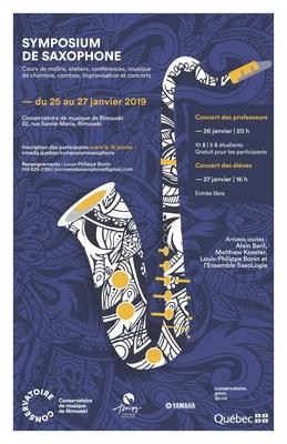 Premier Symposium de saxophone du Conservatoire de musique de Rimouski, du 25 au 27 janvier 2019 (Groupe CNW/Conservatoire de musique et d'art dramatique du Québec)