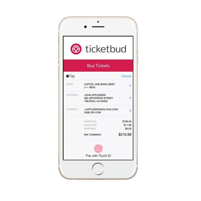 Ticketbud's new mobile optimized checkout experience with Apple Pay and Google Pay integrations.
