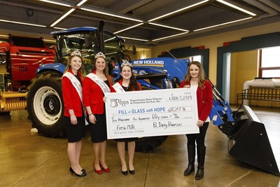 Pennsylvania dairy princesses donate more than $10,250 to Feeding PA—a partner state association of Feeding America—for the Fill a Glass with Hope® charitable milk donation program. Pictured (L to R): Pennsylvania 2nd Alternate Dairy Princess Kara Stultz, Pennsylvania 1st Alternate Dairy Princess Samantha Haag, Pennsylvania State Dairy Princess Brooke Emery, and Feeding Pennsylvania Executive Director Jane Clements-Smith.