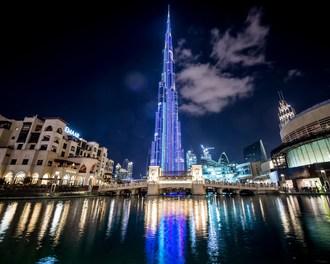 Tallest media façade on the planet on Burj Khalifa in Dubai, UAE, using SACO Technology Inc.'s innovative V-Stick technology. Photo credit: Oneinchpunch / Shutterstock.com (CNW Group/SACO Technologies Inc.)