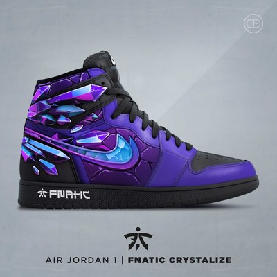 Nike Air Jordan 1 with unique Fnatic designs.