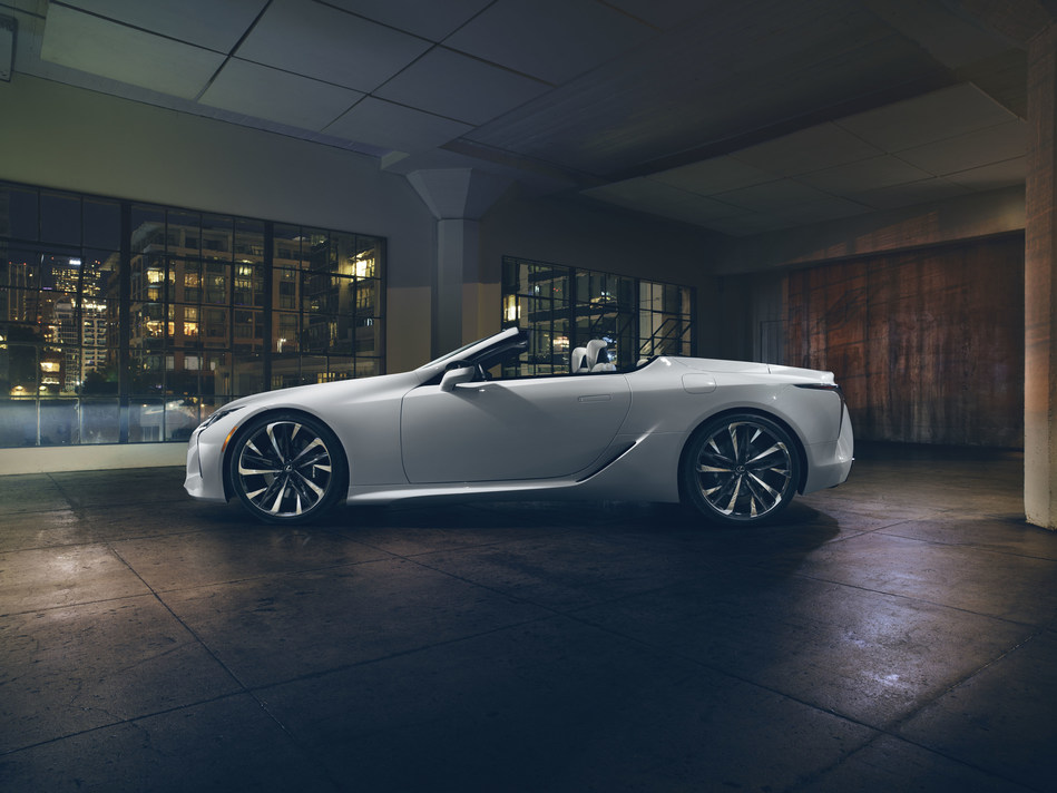 """An open-air roadster that is an artful reflection of the LC coupe, the design goal of the Convertible Concept was the expression of """"ultimate beauty""""."""
