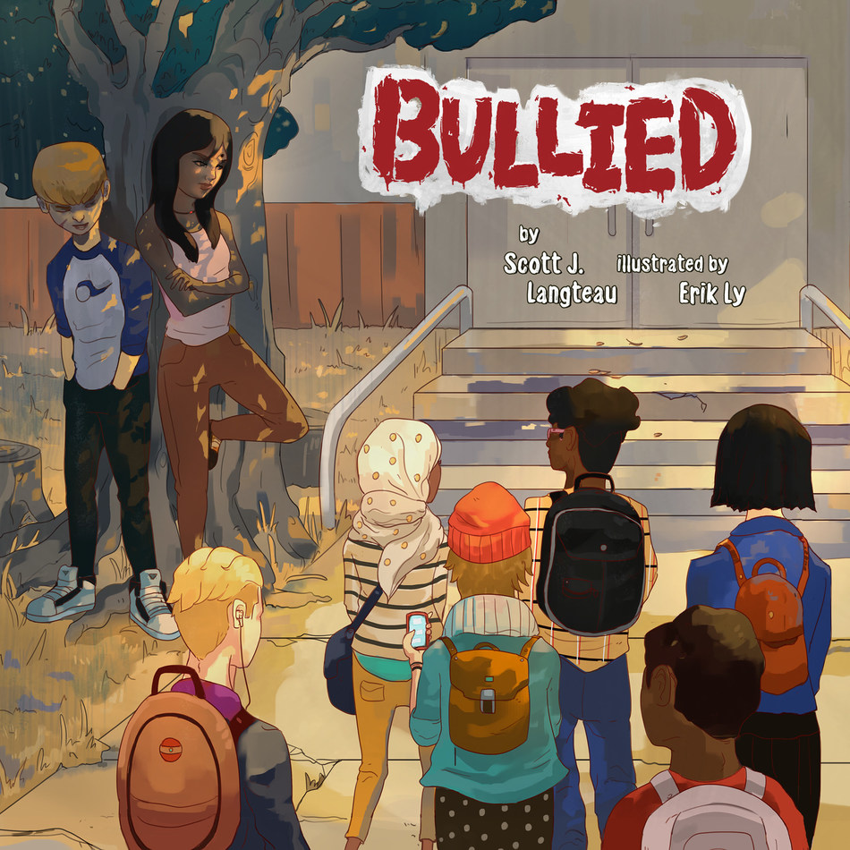 BULLIED Book Cover.  Hardcover, 56pgs.  Ages 8-12  ($17.95)  ISBN: 978-0-692-14333-9.  A modern-day anti-bullying book casting light on a route to self-acceptance and empowerment. Bullied follows the day-to-day struggles of 7 young targets of aggression along with their tormentors from adolescence to adulthood. On this journey the reader discovers that accepting and staying true to oneself and examining one's behavior can serve as powerful tool for both the bullied and bully alike.