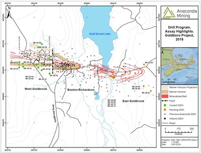 Exhibit A. A map showing the location of the three mineralized systems of the Goldboro Gold Deposit over a strike length of 1.7 km, the location of the Marker Horizon (beige) projected to surface and the location of drill holes reported in this press release and those pending for the remainder of the 10,000-metre drill program. (CNW Group/Anaconda Mining Inc.)