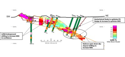 Figure 3 – Dip Section through Rubicon Deposit (Section Line shown in Figure 2) (CNW Group/Desert Lion Energy)
