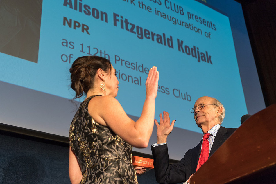 Supreme Court Justice Stephen Breyer administers oath of office to the National Press Club's 112th President, NPR's Alison Fitzgerald Kodjak, at inaugural gala