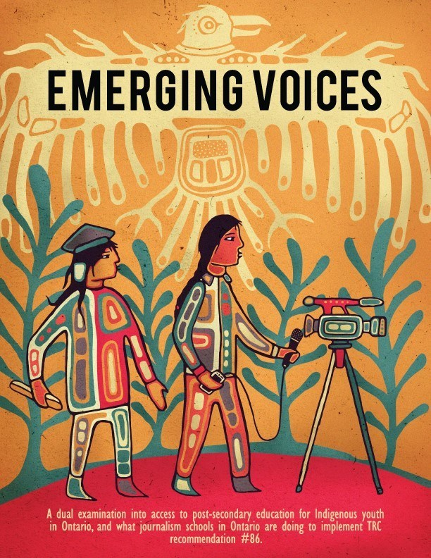 Emerging Voices cover, designed by Joshua Pawis-Steckley (CNW Group/Journalists for Human Rights (JHR))