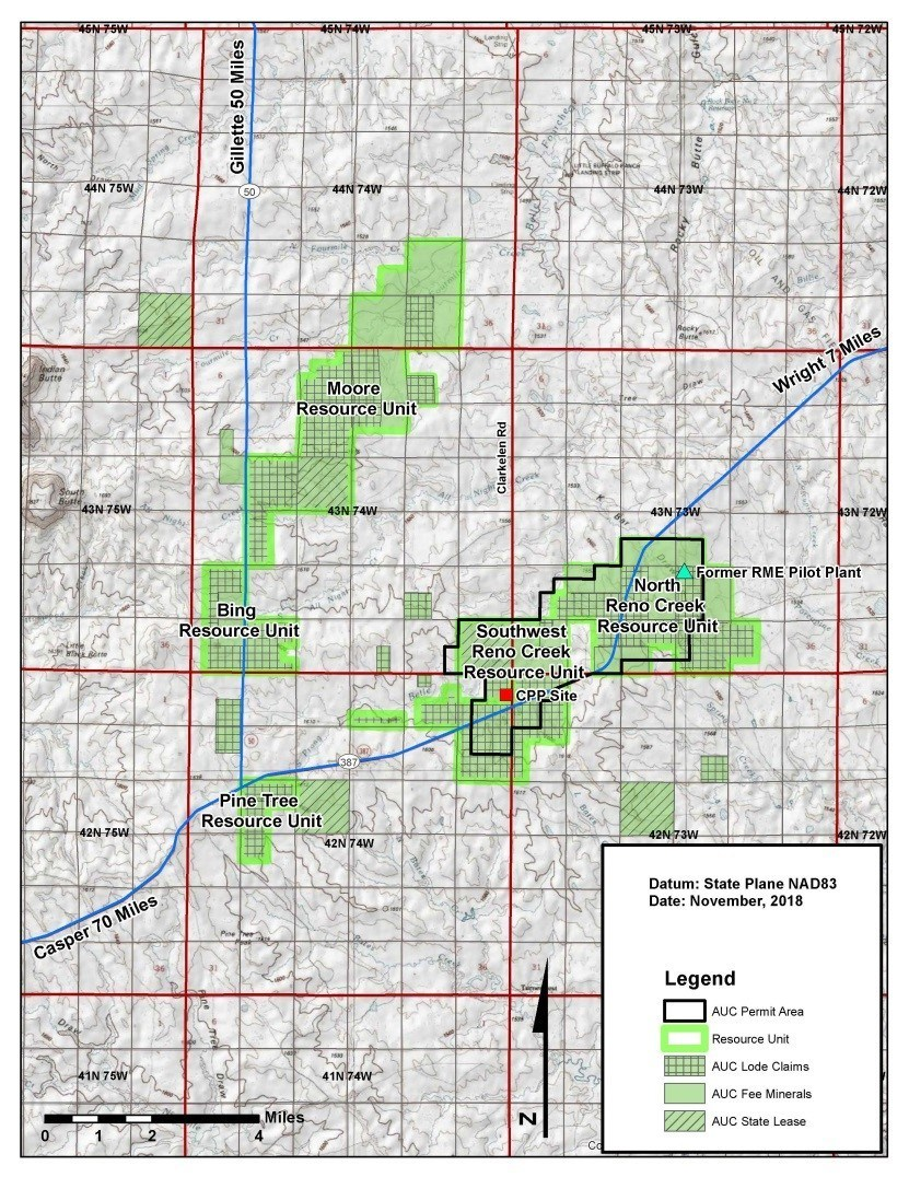 Figure 1: Location of the Reno Creek ISR Project, Wyoming (CNW Group/Uranium Energy Corp)