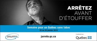 Semaine pour un Québec sans tabac 2019 (Groupe CNW/Conseil québécois sur le tabac et la santé)