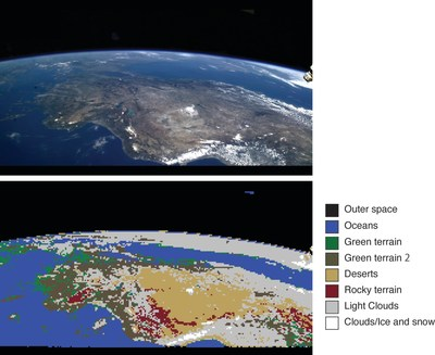 Example of vegetation/land-use identification using an Earth image from the ISS