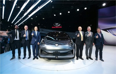 Mr. Rod Alberts, Chairman of the North American International Auto Show (second from right), Mr. Wes Lutz, Chairman of National Automobile Dealers Association (second from left), Mr. Zhang Qingsong, Member of the Executive Committee of GAC Group (third from right), Mr. Yu Jun, President of GAC Motor (third from left),  Mr. Wang Qiujing, President of GAC R&D Center (first from right) and Mr. Pontus Fontaeus, Executive Design Director of GAC Advanced Design Center Los Angeles (first from left) attended the press conference and took group photo.